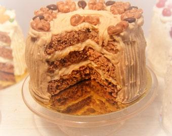 12th Scale Doll House Coffee & Walnut Cake