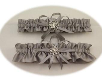 Satin Silver/Grey Wedding Garter with Rhinestone Charms, Bridal Garter, Prom Garter  (Your Choice, Single or Set)