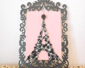 Paris Eiffel Tower Art - Laser cut wood - Pink and Black - Pearl Rhinestone Mosaic - Scrollwork Framed Art - Paris Apartment - 3d Wall Art