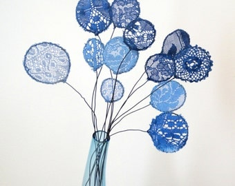 Lace flowers.  Fabric Flowers.  Doily Art.  Indigo Home Decor.  Black wire work.  Blue Lace Embroidered Flowers.  Dyed Lace Floral Bouquet.
