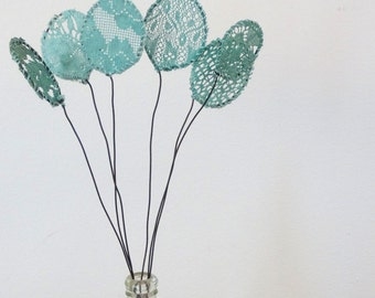 Teal flowers.  Lace Flowers.  Wire Fabric Flowers, Doily Art.  Teal Lace, Black wire. Embroidered Flowers.  Centerpiece. Lace Nursery Decor.