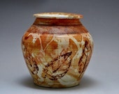 Pet Urn Drifting Leaves Pit Fired Vase Special Free Shipping*