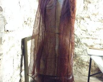 Extra long brown Silk gauze Scarf for Nuno Felting