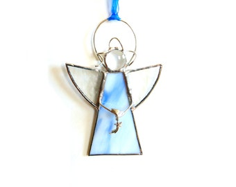 Stained glass angel suncatcher, blue angel, angel gift under 20, christian faith, shooting star angel ornament, hanging angel