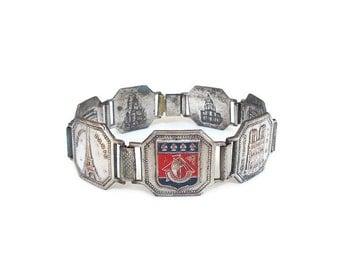 Paris Silver Enamel Souvenir Bracelet - Tourist Bracelet, French France, Silver Tone, Enamel, Vintage Bracelet, Vintage Jewelry