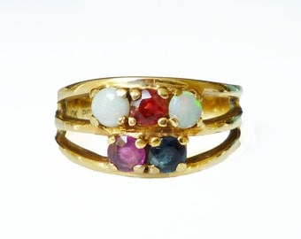 10K Gold Ruby Garnet Topaz Opal Ring - Multi Gemstone, Modernist Ring, Vintage Ring, Vintage Jewelry, Size 9 to 9.5