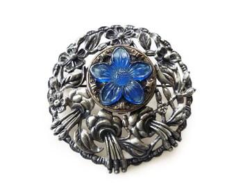 Art Deco Brooch, Vinaigrette, Perfumer Pendant, Silver Pot Metal, Cobalt Blue, Pressed Glass, Flower Floral, Antique Jewelry