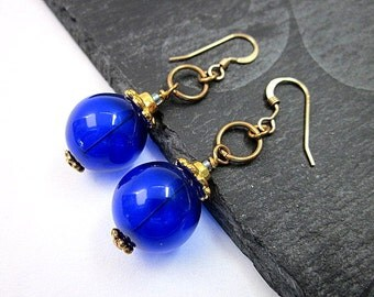 Gold and Dark Blue Earrings -- Blown Glass Bead Earrings -- Glass Bubble Earrings -- Glass & Gold Earrings -- Purple Blue Earrings