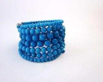 Wrap Around Bracelet -- Teal Blue Bead Bracelet -- Blue Stacked Bangle Bracelet -- Teal Wrap Bracelet -- Teal Stacking Bracelet -- Mantra