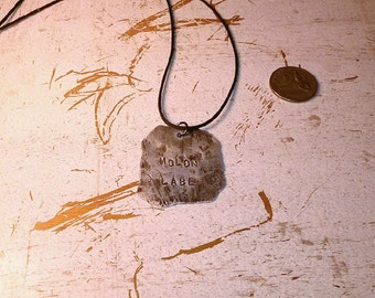 "Hand Hammered Aluminum ""Molon Labe"" Pendant"