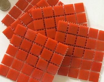 """A95075  3/4"""" Orange Glass Mosaic Tiles-25 pc//Mosaic Supplies// Mosaic"""
