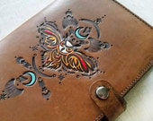Leather Journal - Night Owl - Hand Tooled and Painted Turquoise Crescent Moon Diary- Mesa Dreams - handmade journal - made to order