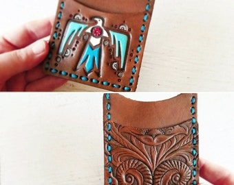 Handmade Leather SLIM Wallet - Thunderbird and Western Floral - Turquoise and Chocolate - Mesa Dreams - Unisex wallet - MADE to ORDER