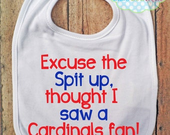 Excuse the spit up Bib - Chicago Cubs - Baseball - Baby Fan Gear