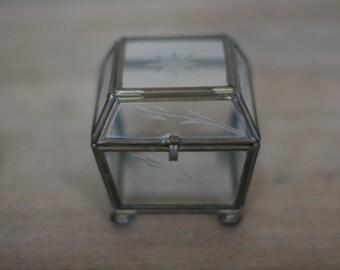 vintage glass and brass keepsake box