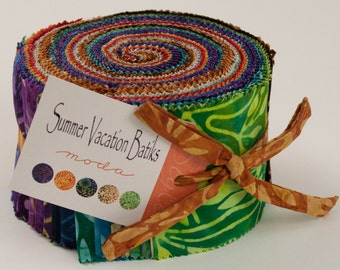 Summer Vacation by Moda for Moda ~ 100% Cotton ~ 40 Strip Jelly Roll