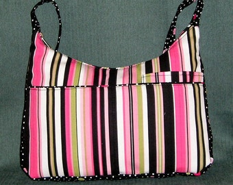 Fabric 2 tone stripes and dots Handbag with smart phone pocket