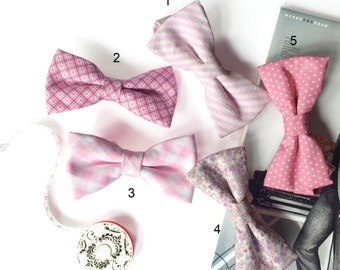 Wedding Set of 5 Pink Men's Bow Ties, Groomsmen Bow Ties, Mismatched Wedding Bow Ties