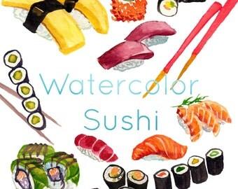 Watercolor Sushi , Sushi Clip Art, Sashimi clipart, Japanese Cuisine, Food Clip Art, Printable Food Clip Art