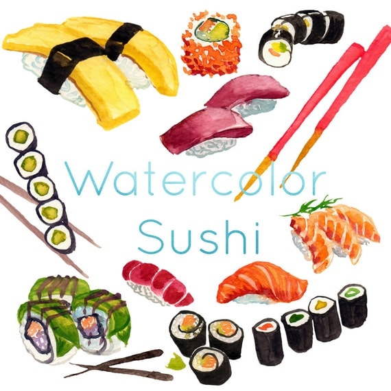 Aquarell-Sushi Sushi-ClipArt Clipart Sashimi japanische   {Französische küche clipart 91}