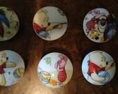 Handmade Knobs Drawer Pull Set of 7 Winnie Pooh Tigger Piglet Eeyore Dresser Knob Pulls