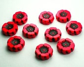 12mm Poppy Red Carved Flower Picasso Czech Glass Beads with Black Finish 10 pcs. F-1145