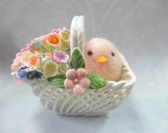 Miniature Porcelain Basket Filled With Sweetness Vintage Floral Flower Bunch Pink Sweet Tweet Chick