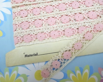 5 Yards On Card Sweet Pink Baby Doll Vintage Crochet Style Lace Trim Pretty Sewing Notions Destash Project Supply Inspiration