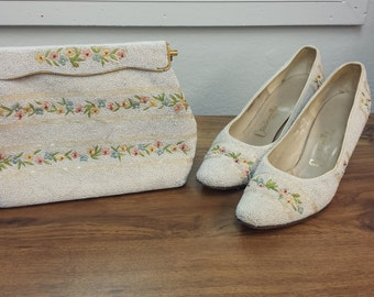 White Floral Hand beaded Purse and Heels Set  PRICE SLASH!!