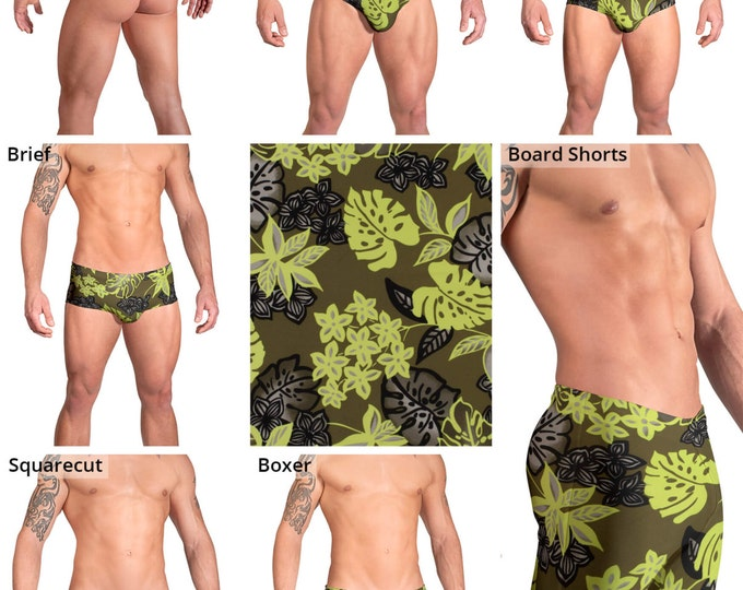 Green Tropical Leaf Swimsuits for Men by Vuthy Sim.  Thong, Bikini, Brief, Squarecut, Boxer, or Board Shorts - 163