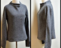 DKNY Gray Lambswool Boatneck Funnelneck Pullover Sweater Size M