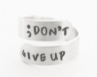 Semicolon ring don't give up inspirational jewelry depression recovery gift suicide awareness