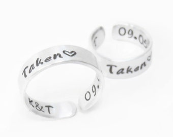 Personalized promise rings - Couple Christmas gifts - couple rings - Boyfriend girlfriend rings - Commitment rings