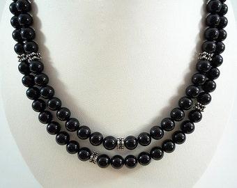 Onyx Necklace Long Black Onyx Necklace Silver Onyx Gemstone Necklace Onyx Bead Necklace Long Black Onyx Strand Long Onyx Necklace Beaded