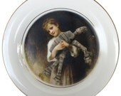 Portrait of a Girl and her AT-AT  - Altered Vintage Limoges Plate 7.5""