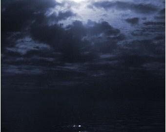Moonlight photo, Florida Keys photography, moon photography, Seascape photo, coastal art