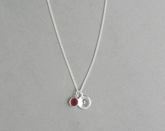 Swarovski January Birthstone and HS Initial Necklace