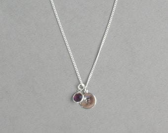 Swarovski February Birthstone and HS Initial Necklace