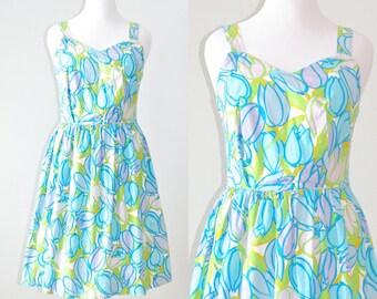50s Dress, 1950s Cotton Sun Dress, Blue Floral Tulip Print Summer Dress, 50s Large