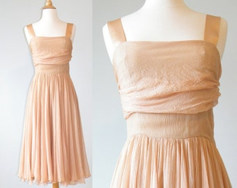 50s Dress, 1950s Prom Dress, Henri Bendel Caramel Silk Chiffon Dress, 50s Cocktail Dress, 50s Party Dress, XS - S