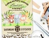 Safari Animal Birthday Party Invitation, Watercolor Invite, Zoo Party, Lion Tiger Elephant, Printable, DIY, Digital or Printed Invitation
