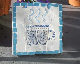 Shabby chic tea cup mosaic plaque