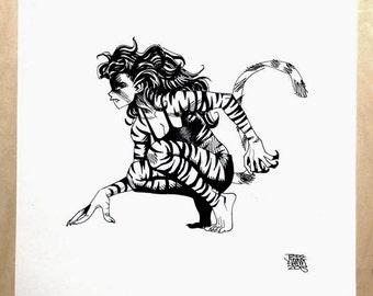 Tigra Jesse Hamm original ink sketch