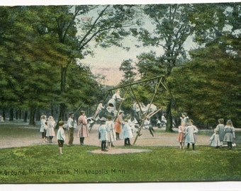 Childrens Playground Riverside Park Minneapolis Minnesota 1910c postcard