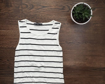 Navy Blue and White Striped Cropped Brandy Melville Tank Top
