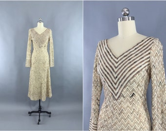 Vintage 1970s Sweater Dress / 70s Chevron Knit Day Dress / Maxi Dress / Coco California / Size XS 0-2