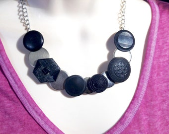 Black and Silver textured button necklace
