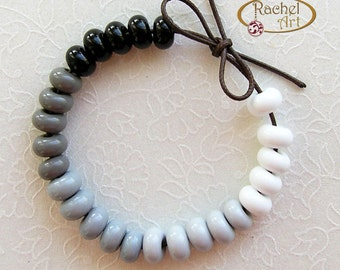 Lampwork Glass Donuts Beads, FREE SHIPPING, Black, White and Cream Glass Spacers Beads - Rachelcartglass