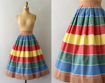 1950s Vintage Skirt - 50s Colorful Striped Cotton Full Skirt