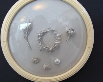 Framed Botanical Castings in Vintage Convex Glass Frames
